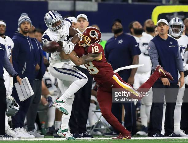 Chidobe Awuzie of the Dallas Cowboys breaks up a pass intended for Josh Doctson of the Washington Redskins in the first half of a football game at...