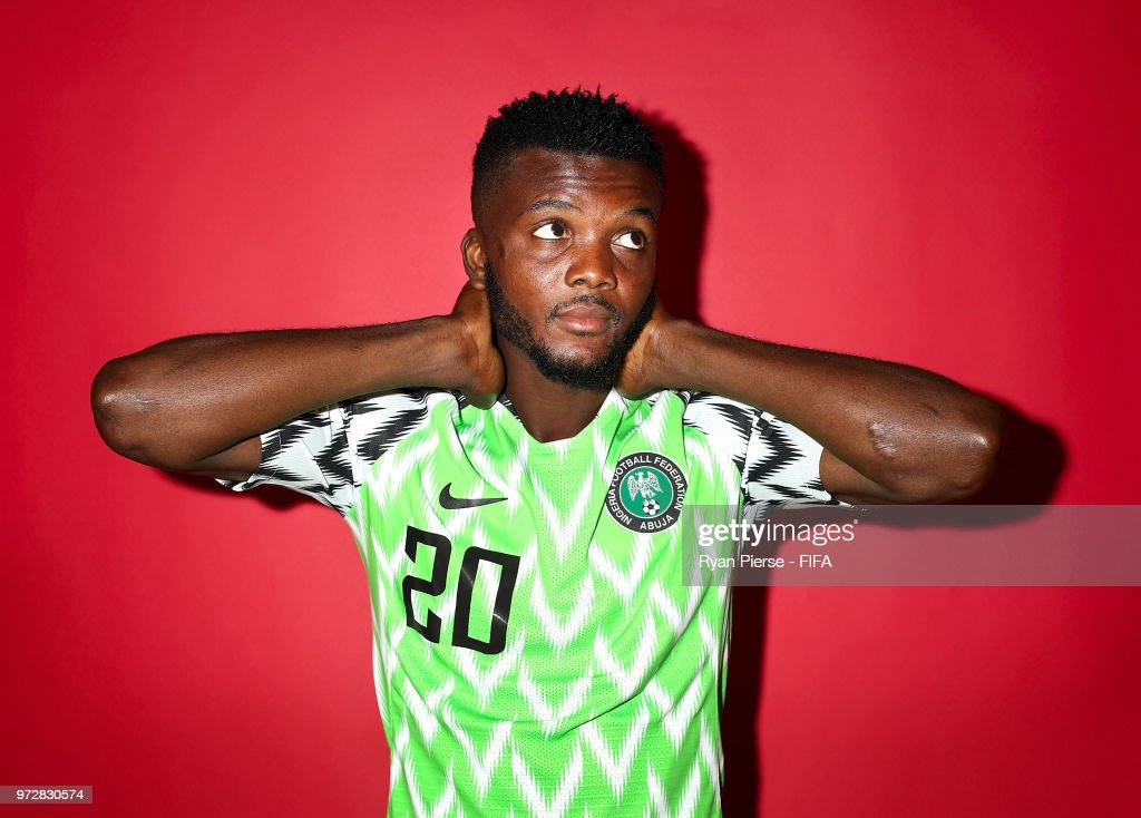 Chidozie Awaziem of Nigeria poses during the official FIFA World Cup 2018 portrait session on June 12, 2018 in Yessentuki, Russia.