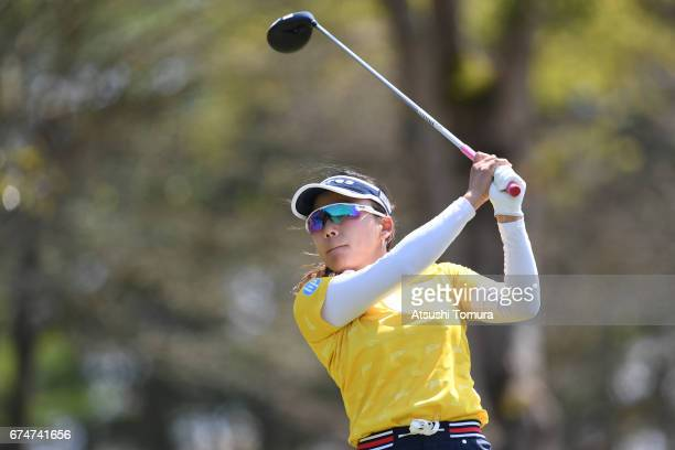 Chie Arimaura of Japan hits her tee shot on the 9th hole during the second round of the CyberAgent Ladies Golf Tournament at the Grand Fields Country...