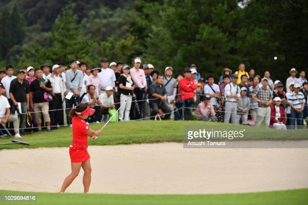 Chie Arimura of Japan from a bunker on the 1st hole during the final round of the 2018 LPGA Championship Konica Minolta Cup at Kosugi Country Club on...