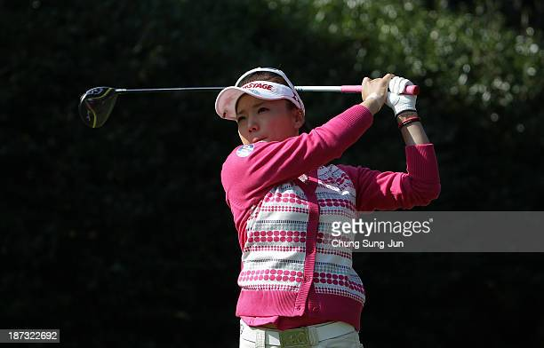 Chie Arimura of Japan hits a tee shot during the first round of the Mizuno Classic at Kintetsu Kashikojima Country Club on November 8 2013 in Shima...