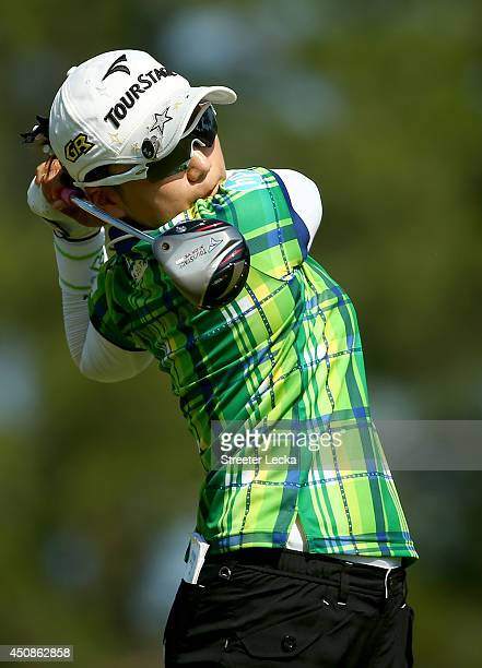 Chie Arimura of Japan hits a tee shot on the fourth hole during the first round of the 69th US Women's Open at Pinehurst Resort Country Club Course...