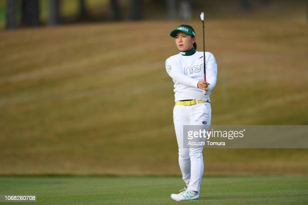 Chie Arimura of Japan hits her second shot on the 1st hole during the second round of the Daio Paper Elleair Ladies Open at Elleair Golf Club...
