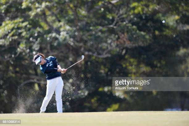 Chie Arimura of Japan hits her second shot on the 1st hole during the first round of the Yokohama Tire PRGR Ladies Cup at the Tosa Country Club on...