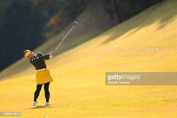 Chie Arimura of Japan hits her second shot on the 5th hole during the third round of the Daio Paper Elleair Ladies Open at Elleair Golf Club...