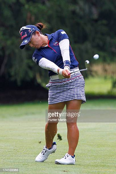 Chie Arimura of Japan hits her second shot on the fourth hole during round three of the Marathon Classic presented by Owens Corning OI on July 20...