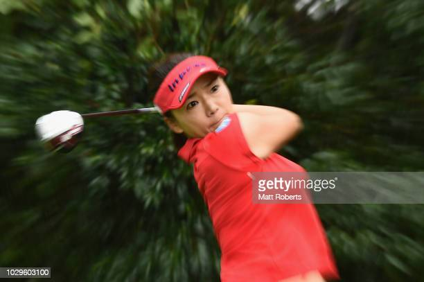 Chie Arimura of Japan hits her tee shot on the 11th hole during the final round of the 2018 LPGA Championship Konica Minolta Cup at Kosugi Country...
