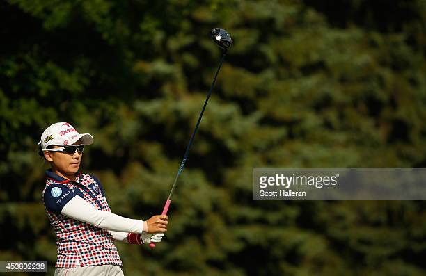 Chie Arimura of Japan hits her tee shot on the 11th hole during the first round of the Wegmans LPGA Championship at Monroe Golf Club on August 14...