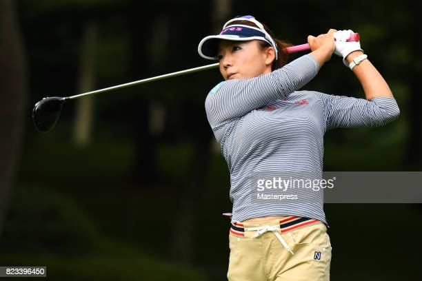 Chie Arimura of Japan hits her tee shot on the 11th hole during the first round of the Daito Kentaku Eheyanet Ladies 2017 at the Narusawa Golf Club...