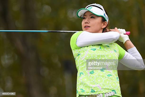 Chie Arimura of Japan hits her tee shot on the 17th hole during the second round of the Studio Alice Open at the Hanayashiki Golf Club Yokawa Course...
