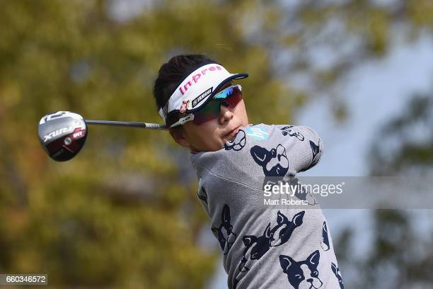 Chie Arimura of Japan hits her tee shot on the second hole during the first round of the YAMAHA Ladies Open Katsuragi at the Katsuragi Golf Club...