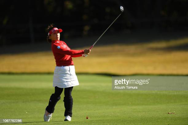 Chie Arimura of Japan hits her third shot on the 18th hole during the first round of the Daio Paper Elleair Ladies Open at Elleair Golf Club...