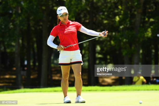 Chie Arimura of Japan lines up during the first round of the Samantha Thavasa Girls Collection Ladies Tournament at the Eagle Point Golf Club on July...
