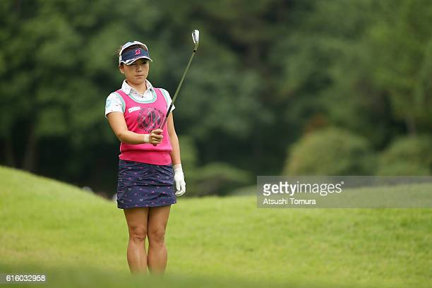 Chie Arimura of Japan lines up her second shot on the 2nd hole during the third round of the Nobuta Group Masters GC Ladies at the Masters Golf Club...