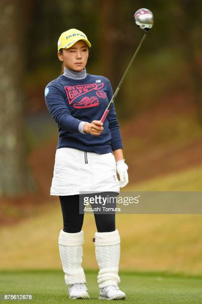 Chie Arimura of Japan lines up her tee shot on the 5th hole during the third round of the Daio Paper Elleair Ladies Open 2017 at the Elleair Golf...