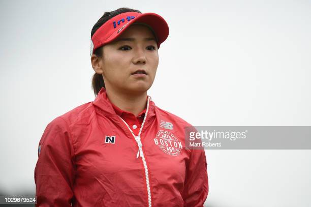 Chie Arimura of Japan looks on during the final round of the 2018 LPGA Championship Konica Minolta Cup at Kosugi Country Club on September 9 2018 in...