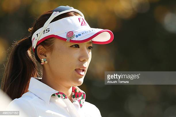 Chie Arimura of Japan looks on during the final round of the Higuchi Hisako Ponta Ladies at the Musashigaoka Golf Course on November 1 2015 in Hanno...