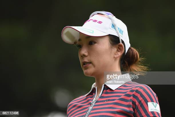 Chie Arimura of Japan looks on during the first round of the HokennoMadoguchi Ladies at the Fukuoka Country Club Wajiro Course on May 12 2017 in...