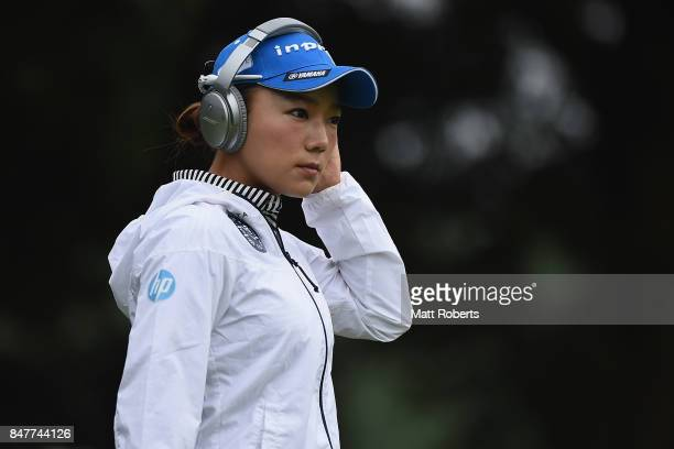 Chie Arimura of Japan looks on prior to the start of the second round of the Munsingwear Ladies Tokai Classic 2017 at the Shin Minami Aichi Country...
