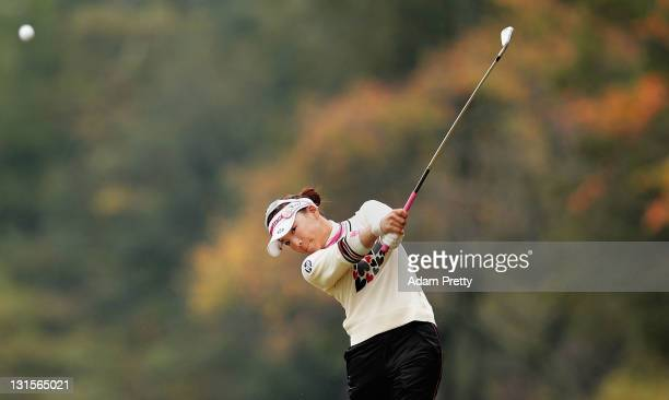 Chie Arimura of Japan plays a shot during the final round of the Mizuno Classic at Kintetsu Kashikojima Country Club on November 6 2011 in Shima Japan