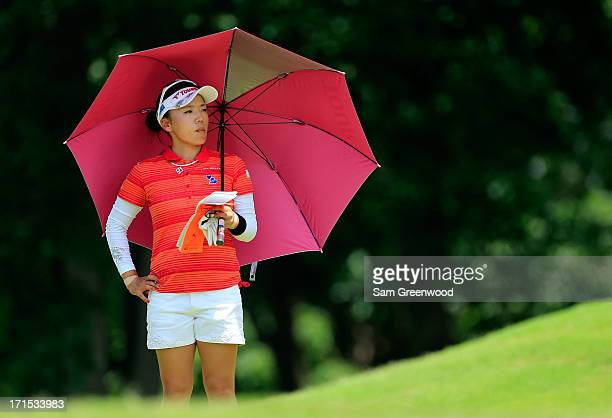 Chie Arimura of Japan plays a shot during the final round of the Walmart NW Arkansas Championship Presented by PG at the Pinnacle Country Club on...