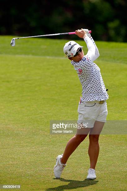 Chie Arimura of Japan plays from the fairway on the eighth hole during the first round of the Kingsmill Championship presented by JTBC on the River...