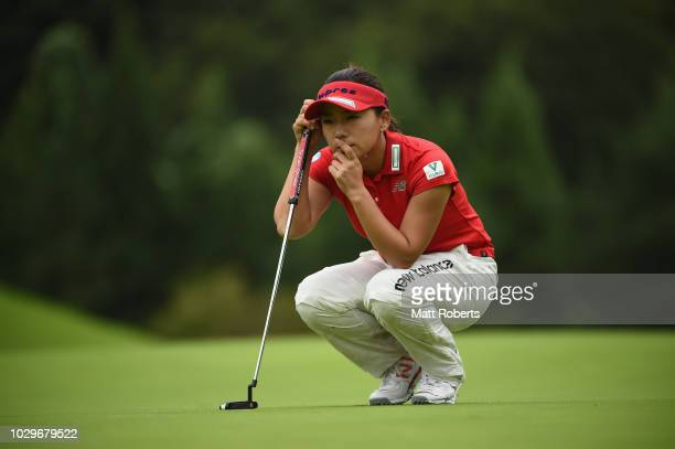 Chie Arimura of Japan prepares to putt on the 15th green during the final round of the 2018 LPGA Championship Konica Minolta Cup at Kosugi Country...