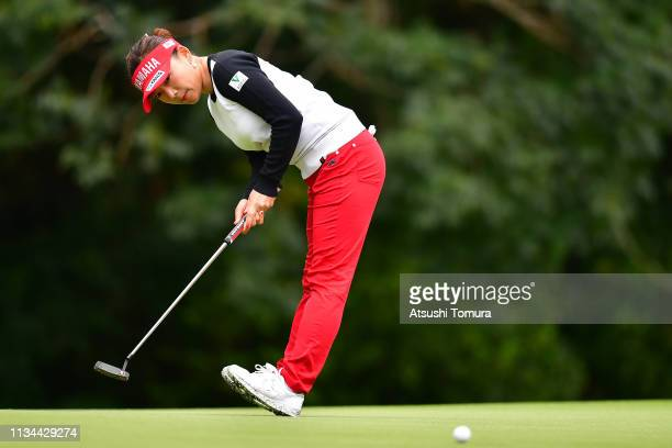 Chie Arimura of Japan putts on the 11th hole during the second round of the Daikin Orchid Ladies Golf Tournament at Ryukyu Golf Club on March 08 2019...