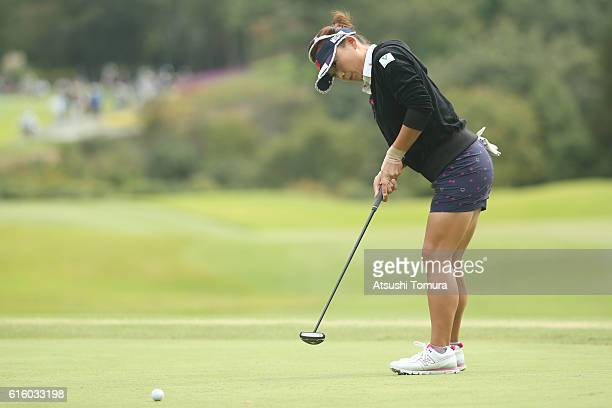 Chie Arimura of Japan putts on the 3rd green during the third round of the Nobuta Group Masters GC Ladies at the Masters Golf Club on October 21 2016...