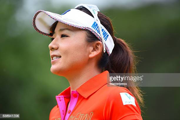 Chie Arimura of Japan smiles during the first round of the Suntory Ladies Open at the Rokko Kokusai Golf Club on June 9 2016 in Kobe Japan