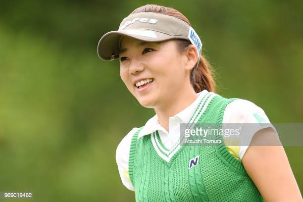 Chie Arimura of Japan smiles during the first round of the Suntory Ladies Open Golf Tournament at the Rokko Kokusai Golf Club on June 7 2018 in Kobe...