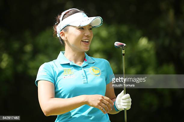 Chie Arimura of Japan smiles during the third round of the Earth Mondamin Cup at the Camellia Hills Country Club on June 25 2016 in Sodegaura Japan