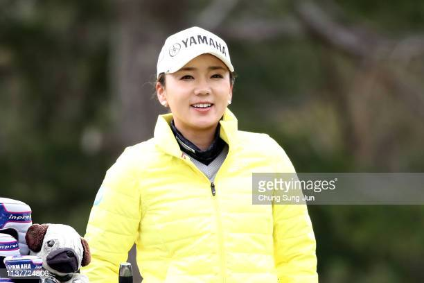 Chie Arimura of Japan smiles on the 2nd hole during the second round of the TPoint x ENEOS Golf Tournament at Ibaraki Kokusai Golf Club on March 23...