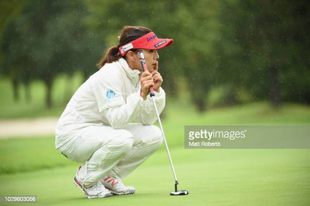 Chie Arimura of Japan waits to putt on the 10th green during the final round of the 2018 LPGA Championship Konica Minolta Cup at Kosugi Country Club...