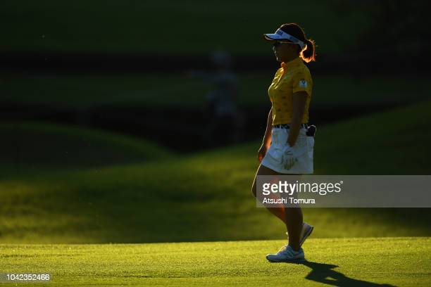 Chie Arimura of Japan walks on the 16th hole during the second round of the Japan Women's Open Golf Championship at Chiba Country Club Noda Course on...