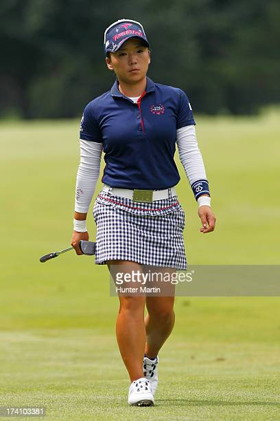 Chie Arimura of Japan walks to the green on the fourth hole during round three of the Marathon Classic presented by Owens Corning OI on July 20 2013...
