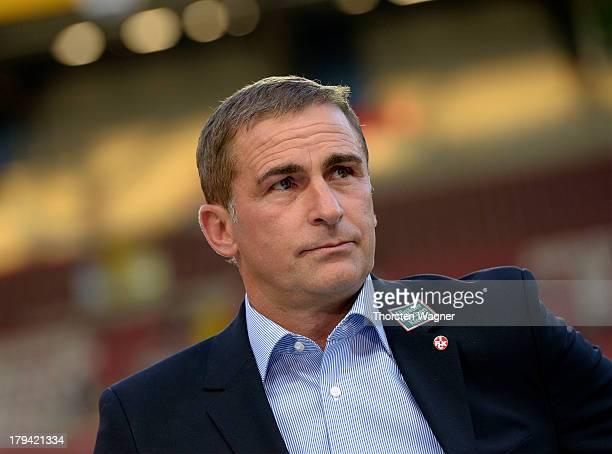Chie executicve Stefan Kuntz of Kaiserslautern looks on prior to the second Bundesliga match between 1FC Kaiserslautern and Energie Cottbus at...