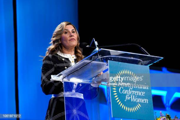 EVP Chief Administration OfficerBeneficial Bank and Board Member Joanne Ryder speaks on stage during Pennsylvania Conference for Women 2018 at...