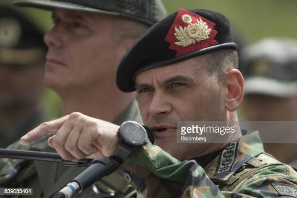 Chief Admiral Remigio Ceballos Ichaso commander of the strategic command operations of the Bolivarian National Armed Forces speaks during a news...