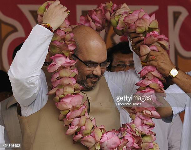 BJP chief Amit Shah during the ByElection rally on September 7 2014 in Kolkata India Shah is here to attend the two day state committee meeting of...