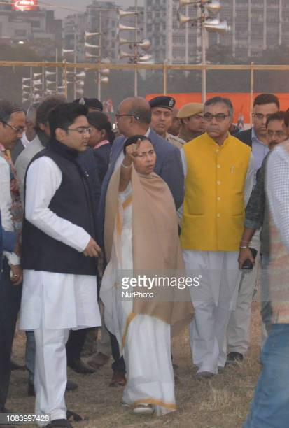 Chief and Chief Minister of West Bengal Mamata Banerjee and his nephew Abhishek BanerjeeMember of Parliament Lok Sabha visit the Brigade Parade...