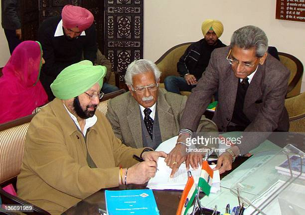 Chief and former CM of Punjab Capt Amarinder Singh filing the nomination form as a Congress candidate from Patiala seat on January 10 2012 in Patiala...