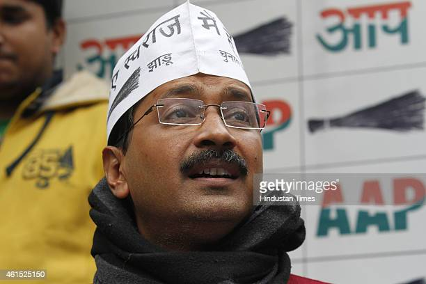Chief Arvind Kejriwal addressing a press conference on January 14 2015 in New Delhi India Kejriwal alleged that there is a nexus between Delhi BJP...