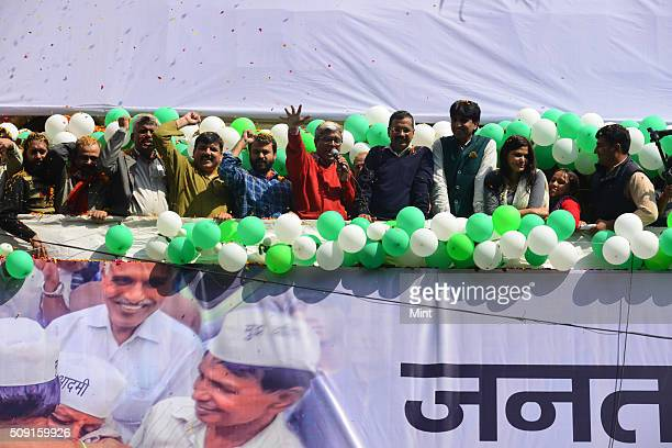Chief Arvind Kejriwal along with party leaders Ashutosh Ashish Khetan Sanjay Singh and Kumar Vishwas addressing supporters after victory in Delhi...