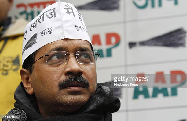Chief Arvind Kejriwal during a press conference on January 14 2015 in New Delhi India Kejriwal alleged that there is a nexus between Delhi BJP chief...