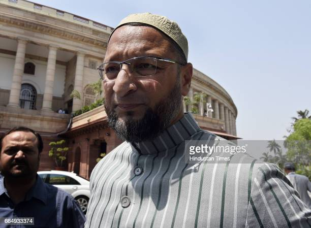 Chief Asaduddin Owaisi attending the Parliament Budget Session on April 5 2017 in New Delhi India Employees suffering injury in industrial accident...