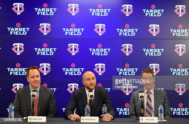 Chief Baseball Officer Derek Falvey Manager Rocco Baldelli and General Manager Thad Levine of the Minnesota Twins speak as Baldelli is introduced at...