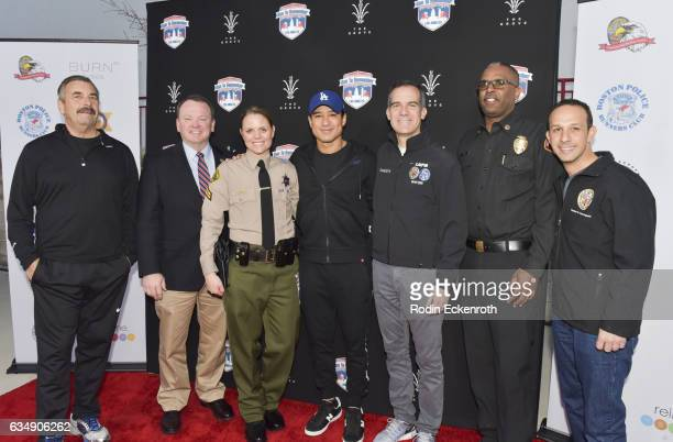 LAPD Chief Beck LA Sheriff McDonnell TV host Mario Lopez LA Mayor Eric Garcetti LACFD Chief Osby and Councilman Mitchell Englander attend 2nd Annual...