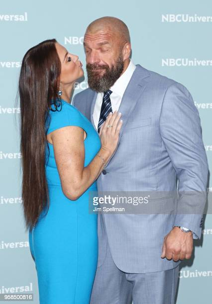 Chief brand officer of WWE Stephanie McMahon and Triple H attend the 2018 NBCUniversal Upfront presentation at Rockefeller Center on May 14 2018 in...