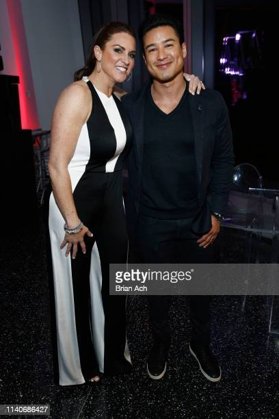 Chief Brand Officer Stephanie McMahon and Boys Girls Club Ambassador Mario Lopez attend the WWE Superstars For Hope Reception on April 05 2019 in New...